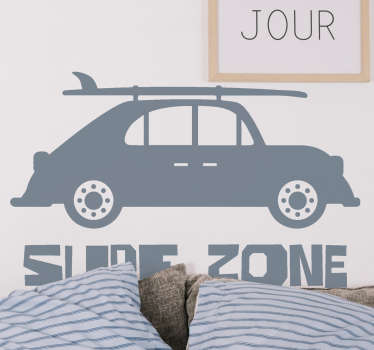 Decorative wall sticker with the design of surf zone sport car in silhouette. It is available in different 50 colours to choose from.
