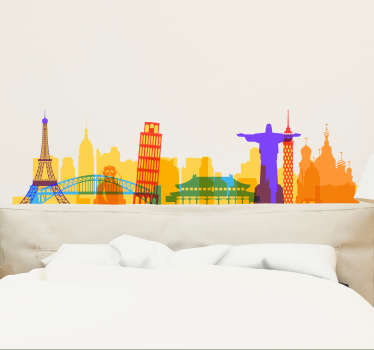 Decorative silhouette city skyline sticker available in varieties of colour you can choose from. It also has customisable sizes.