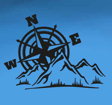 An adventure compass motorcycle sticker designed with navigation compass print with mountain feature. Buy it in the size you want.