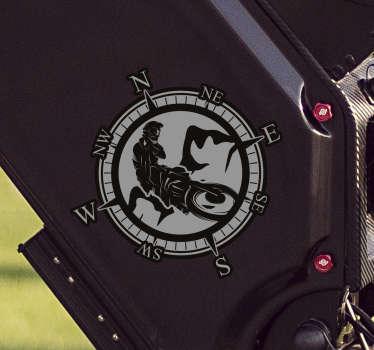 Decorative vinyl motorcycle vinyl decal with the design of a biker riding around a compass with navigation. Available in different sizes.
