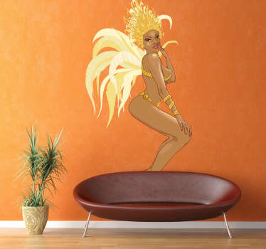 An erotic wall sticker illustrating a young woman wearing a bikini and feathers.