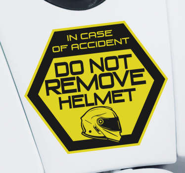 Iconic motorcycle sticker with text that says '' Don't remove helmet in case of accident ''. Choose the size that is best for the surface to apply it.