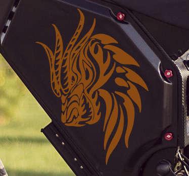 Conception d'autocollant de moto tête de dragon disponible en différentes options de couleur. Achetez-le dans la taille qui convient le mieux à la surface pour l'appliquer.