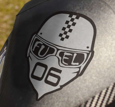 Decorative sport helmet vinyl sticker with an inscription on it that says ''  fuel'' Buy it in the size that is suitable for you.