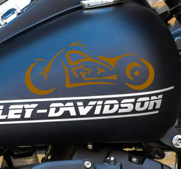A personality sport decal of Harley Davidson to decorate the surface of any vehicle or motorbike.  Available in different size s and colours.
