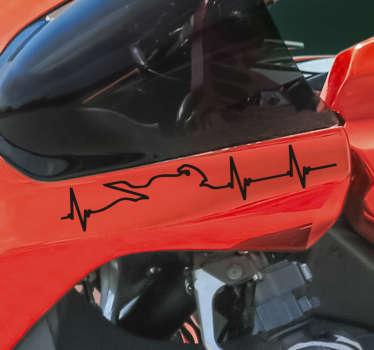 Adesivo decorativo per il battito cardiaco da applicare sulla superficie di veicoli e moto. Disponibile in diversi colori e dimensioni. Facile da applicare.