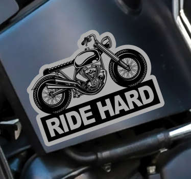 Motorcycle text decal decoration with the content '' ride hard''. Ideal for all vehicle surfaces. Buy it in the size that is preferable for you.