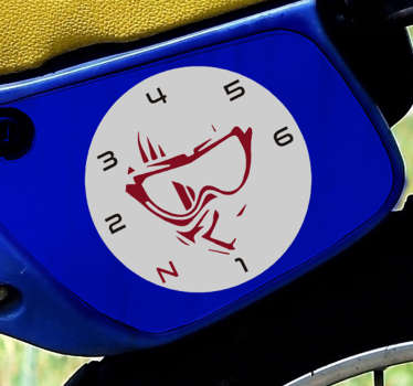 A rider face and gear  decal to decorate the surface of a vehicle or motorcycle in any size of choice. Easy to apply on any flat surface.