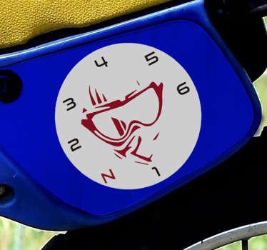 Una stickerper il viso e l'ingranaggio del pilota per decorare la superficie di un veicolo o di una moto in qualsiasi dimensione scelta facile da applicare su qualsiasi superficie piana.