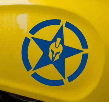 Spartan star decal to decorate the surface of any vehicle or motorbike. It is available in various colour options and sizes.