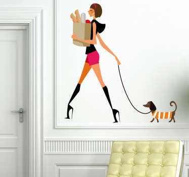 Wall Stickers - Illustration of a young woman walking her dog in high heels. Fun design to decorate your living room or bedroom.