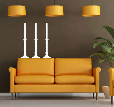 Decorative sticker of candles. A very basic and simple decal to decorate your living room and make it original.