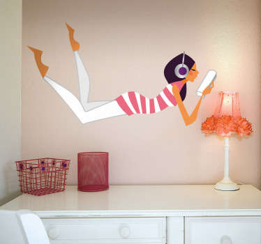 Young Lady Listening to Music Wall Sticker