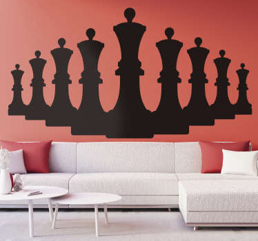 An original game wall sticker design of chess queen figures in silhouette. Buy it in the best size and colour suitable for  a desired space.