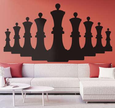 Une conception originale d'stickers muraux de jeu de figures de reine d'échecs en silhouette. Achetez-le dans la meilleure taille et couleur adaptée à l'espace souhaité.