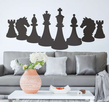 Sjakkfigurer brettspilldekor for å dekorere en flat overflate. Det kan organiseres på den måten du velger. Tilgjengelig i forskjellige farger og størrelser.