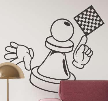 Dekorativt spilldekal med design av sjakkbrett med bonde og fingre pekende på det. Kjøp den i alle størrelser du ønsker.