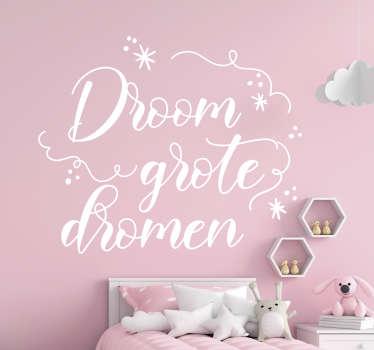 Decoratieve muursticker met motiverende tekst en leuke details. Het is verkrijgbaar in verschillende kleuren en maatopties. Ideaal voor slaapkamer.