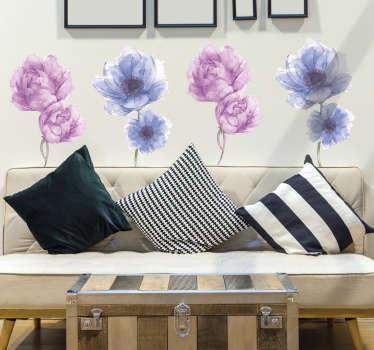 Vinilos decorativos para el hogar con el diseño de bonitas flores multicolores. Cómprelo en cualquier tamaño que desees.