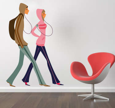 A brilliant fashion wall sticker illustrating a stylish couple wearing outdoor clothing.