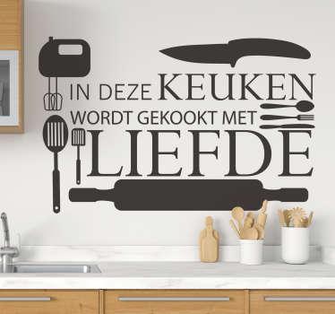 Keuken muursticker met een kookthema. Een ontwerp met keukengerei en tekst over keuken. Verkrijgbaar in verschillende kleuren en maten.