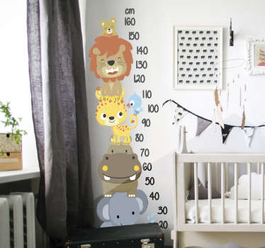 Decorative height chart wall sticker with lovely calibration in well legible appearance. It has has jungle animals on it.  Buy it in an ideal size.