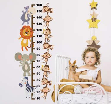 Decorative height chart wall sticker for children with the design of jungle animals on it . Choose it in the preferred size for a surface.