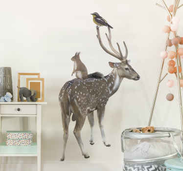Decorative animal wall decal with the design of a real visual appearance of a deer and some other animals. Choose it in the size of desire.