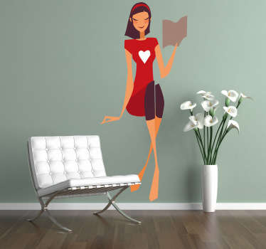 A decorative decal of a nice young lady reading a book and wearing a red dress that steals the centre of attention!