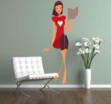 Sticker zittende dame rood kleedje met wit hart