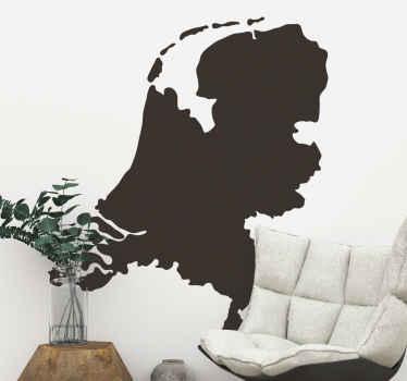Nederland wandkaart silhouet zelfklevende sticker om elk vlak oppervlak in huis en kantoor te versieren. Het is verkrijgbaar in verschillende kleur- en maatopties.