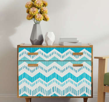 Decorative blue zig zag pattern furniture sticker to cover it surface with classy beauty. Chose the ideal size of a desires space.