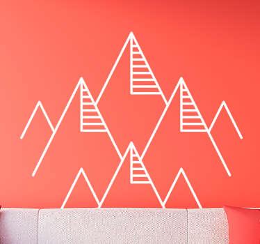 Vinilo adhesivo geométrico abstracto de líneas de montaña para decorar el hogar u oficina. Cómprelo en el color y tamaño de preferencia