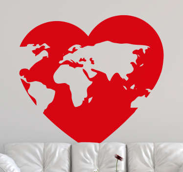Wall art sticker of a heart shape with map on it. A beautiful design for home and office space. Choose it in any colour and size of choice.