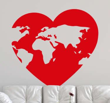 Vinilo mapamundi de forma de corazón para el hogar o el espacio de oficina. Elíjalo en cualquier color y tamaño de elección