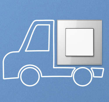 Light switch vinyl sticker with the design of a linear truck . This drawing switch cover decal is available in different sizes and colour options.