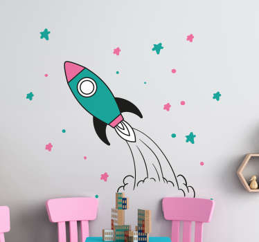 Rocket space children's bedroom wall sticker with the design of a rocket and space elements in pretty colours. Choose the preferred size.