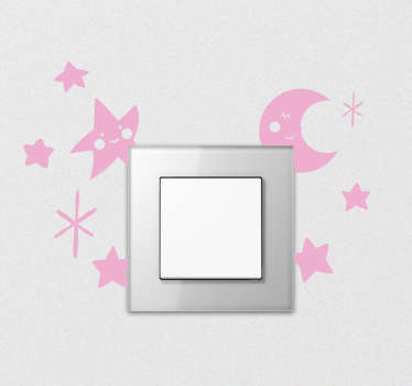 Vinilo adhesivo para interruptor con el diseño de elementos espaciales como las estrellas y la luna. Elija el tamaño y el color de preferencia