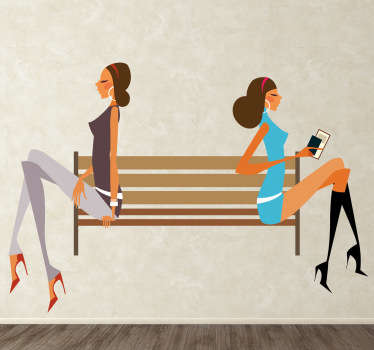 A brilliant fashion wall sticker illustrating two stylish woman wearing fashionable clothes and waiting in the park.