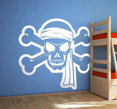 A vinyl sticker illustrating a furious and fun pirate from our collection of pirate wall stickers.