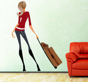 A superb wall sticker of an elegant lady in a dignified posture with a traveling bag in her hand.