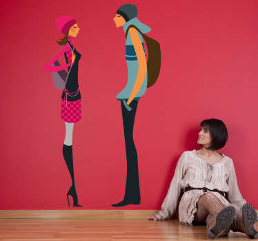 Trendy Couple Talking Decorative Sticker
