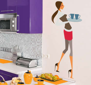 Glamorous Waitress Sticker