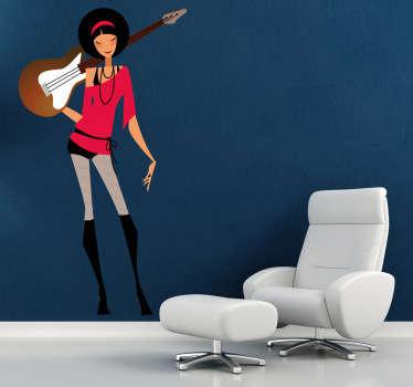 Wandtattoo Frau mit Gitarre