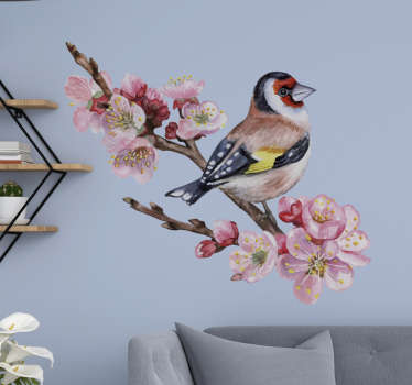 Decorative flower wall sticker with the design of a bird on a tree branch. Easy to apply and available in any required size.