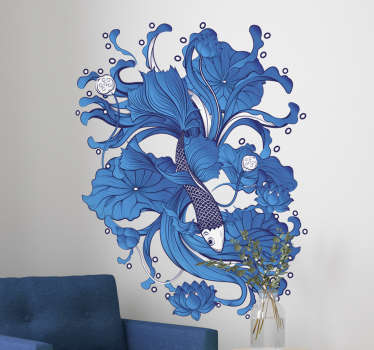 Colorful home wall art decal with a fish design incorporated with an ornamental flower. An ideal decoration for home space. Easy to apply.