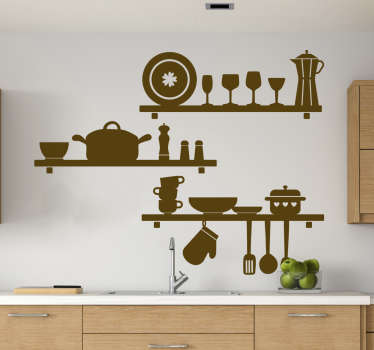 Decorative kitchen wall art sticker with the design of utensils and cooking wares. Available in different colours and sizes.