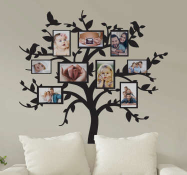 Tree with family frame wall sticker that you can place lovely memory photos on. It is available in different colours and size options.