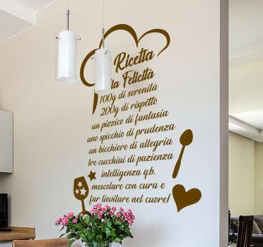 Acquista il nostro sticker della cucina decorativa con il design di posate e citazione di testo della dose di felicità in casa. Facile da applicare.