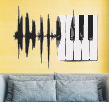 Musical wall art decal with the design of sound key lines. Choose it in the best suitable size ideal for a space decaoration.